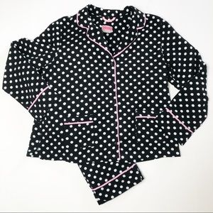 Kate Spade Black White Polka Dot Pajamas Large